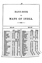 Cover of: Hand-book to the maps of India |