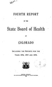 Cover of: Biennial report of Colorado State Board of Health. v. 1-2, 1876/77 |