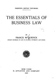 Cover of: The Essentials of Business Law |
