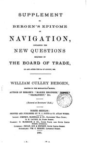 Supplement to Bergens Epitome of navigation, containing the new questions required by the Board ...