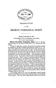 Cover of: Transactions of the Brooklyn Pathological Society |