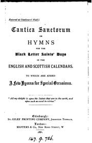 Cover of: Cantica sanctorum, or, Hymns for the black letter saints