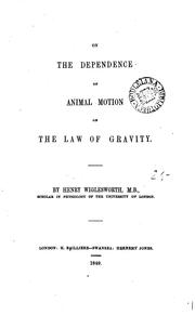 Cover of: On the dependence of animal motion on the law of gravity |
