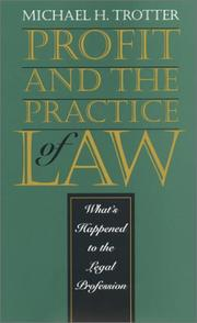 Cover of: Profit and the practice of law