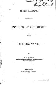 Cover of: Seven Lessons in Theory of Inversions of Order and Determinants |