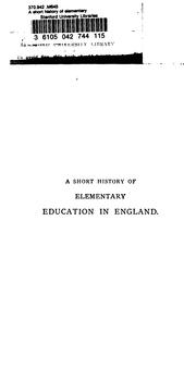 A Short History of Elementary Education in England