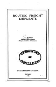 Cover of: Routing Freight Shipments ... |