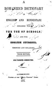 Cover of: A Romanized Dictionary in English and Hindustani Designed for the Use of Schools and for English ... |