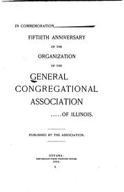 Cover of: In Commemoration: Fiftieth Anniversary of the Organization of the General Congregational ... |