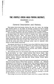 Cover of: The Cripple Creek Mining District Situate in El Paso, Park, and Fremont Counties, Colorado |