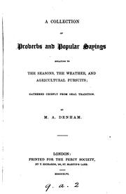 Cover of: A Collection of Proverbs and Popular Sayings Relating to the Seasons, the ... |
