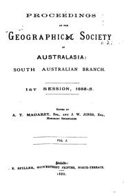 Cover of: Proceedings - Royal Geographical Society of Australasia. South Australian Branch |