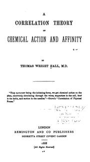 Cover of: Correlation Theory of Chemical Action and Affinity |