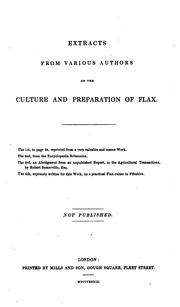 Cover of: Extracts from various authors on the culture and preparation of flax |