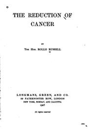 Cover of: The Reduction of Cancer |