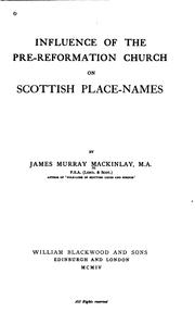 Cover of: Influence of the Pre-reformation Church on Scottish Place-names |
