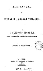 Cover of: The manual of submarine telegraph companies |