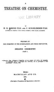 Cover of: A Treatise on chemistry v. 3, 1884 |