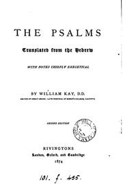 Cover of: The Psalms, with notes by W. Kay |