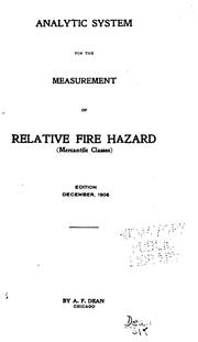 Cover of: Analytic System for the Measurement of Relative Fire Hazard (mercantile Classes) ... |