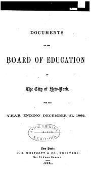 Cover of: Documents of the Board of Education of the City of New York |