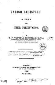 Cover of: Parish registers: a plea for their preservation |