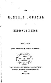 Cover of: Monthly Journal of Medical Science |