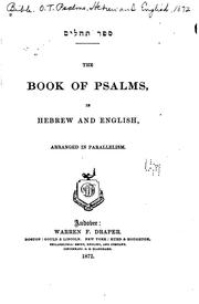 Cover of: The Book of Psalms, in Hebrew and English, Arranged in Parallelism |