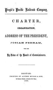 Cover of: Charter, Organization, Address of the President, Josiah Perham, with the By-laws of the Board of ...