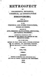 Cover of: Retrospect of Philosophical, Mechanical, Chemical, and Agricultural Discoveries |