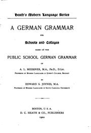 Cover of: German Grammar ... Based on ... Grammar of A.L. Meissner |