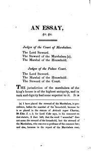 Cover of: An Essay Towards an History of the Ancient Jurisdiction of the Marshalsea of the King