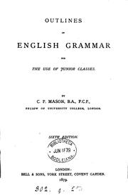 Cover of: Outlines of english grammar |