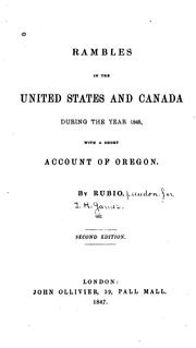 Cover of: Rambles in the United States and Canada During the Year 1845: With a Short Account of Oregon |