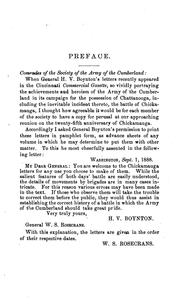 Cover of: Chattanooga and Chickamauga: Reprint of Gen. H. V. Boynton
