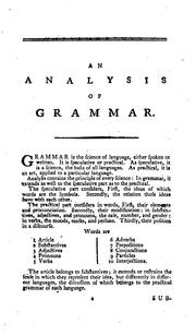 Cover of: A French Grammar.: To which is Prefixed, an Analysis Relating to that Subject. |