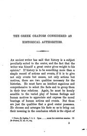 Cover of: The Greek orators considered as historical authorities. Arnold prize essay |