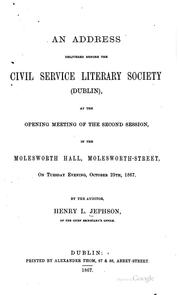 Cover of: An Address Delivered Before the Civil Service Literary Society (Dublin), at ...