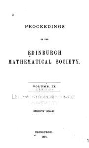 Cover of: Proceedings of the Edinburgh Mathematical Society |