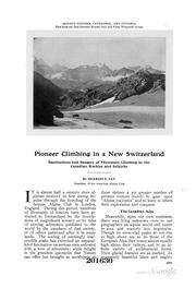 Cover of: Pioneer Climbing in a New Switzerland... |