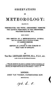 Cover of: Observations in meteorology ... chiefly the results of a meteorological journal kept for ... |