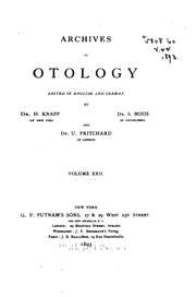 Cover of: Archives of Otology |