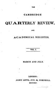 Cover of: The Cambridge Quarterly Review and Academical Register |