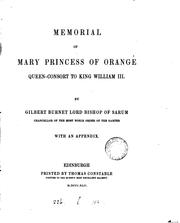 Cover of: Memorial of Mary Princess of Orange |