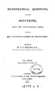Cover of: Mathematical Questions with Their Solutions, from the Educational Times... |