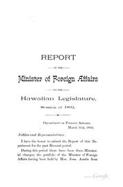 Cover of: Report of the Minister of Foreign Affairs |