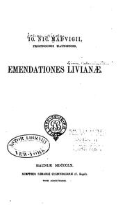 Cover of: Emendationes livianae