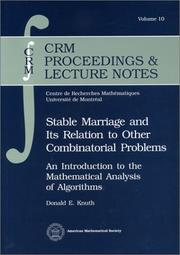 Cover of: Stable marriage and its relation to other combinatorial problems: an introduction to the mathematical analysis of algorithms