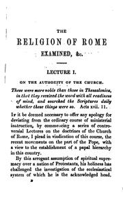 The religion of Rome examined; a course of lectures