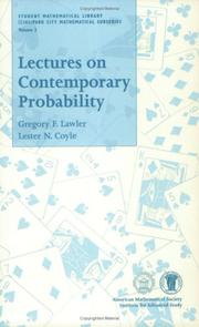 Cover of: Lectures on contemporary probability | Gregory F. Lawler